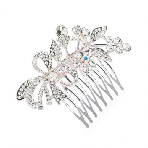 Crystal Bow and Flower Design Silver Hair Comb Slide